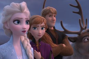 """(Image courtesy of Disney) Queen Elsa (left, voiced by Idina Menzel), Anna (center, voiced by Kristen Bell) and Kristoff (voiced by Jonathan Groff) are back for more adventure in Disney's """"Frozen II""""."""