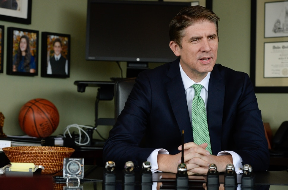 (Francisco Kjolseth | The Salt Lake Tribune) Utah Valley University President Matthew S. Holland meets with the press on Monday, Nov. 6, 2017, to announce his calling as an LDS mission president. Holland's last day as UVU president will be in early June 2018.
