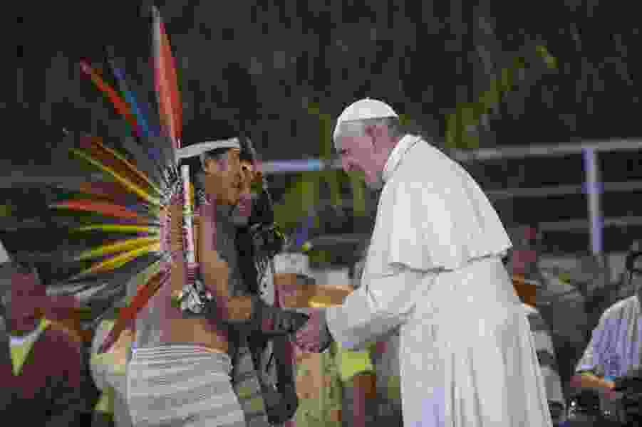 The Amazon is 'heart of the church,' Pope Francis tells Peru's indigenous peoples
