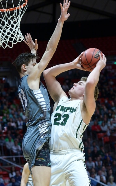 (Leah Hogsten   The Salt Lake Tribune) Olympus' Harrison Creer (23) had 16 point in the first half. Olympus plays Corner Canyon for the 5A High School BoysÕ Basketball Tournament Championship at the Jon M. Huntsman Center in Salt Lake City, Saturday, March 3, 2018.