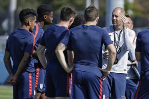 (AP Photo/Chris O'Meara, File) | In this Wednesday, Jan. 8, 2020, file photo, Gregg Berhalter, right, head coach of the U.S. Men's National Soccer team, instructs some of his players during drills in Bradenton, Fla. Berhalter, and the USMNT will play host to Costa Rica at Rio Tinto Stadium on June 9.