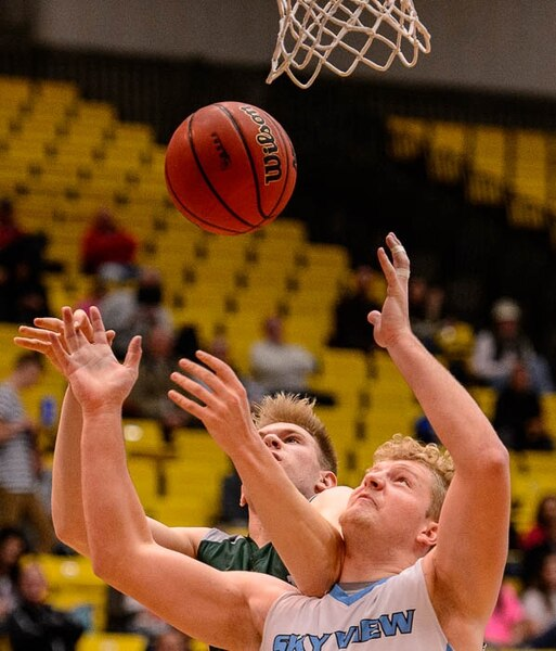 (Trent Nelson | The Salt Lake Tribune) Payson vs. Sky View, 4A State high school basketball tournament at Utah Valley University in Orem, Thursday March 1, 2018. Sky View's Andrew Dean (0).