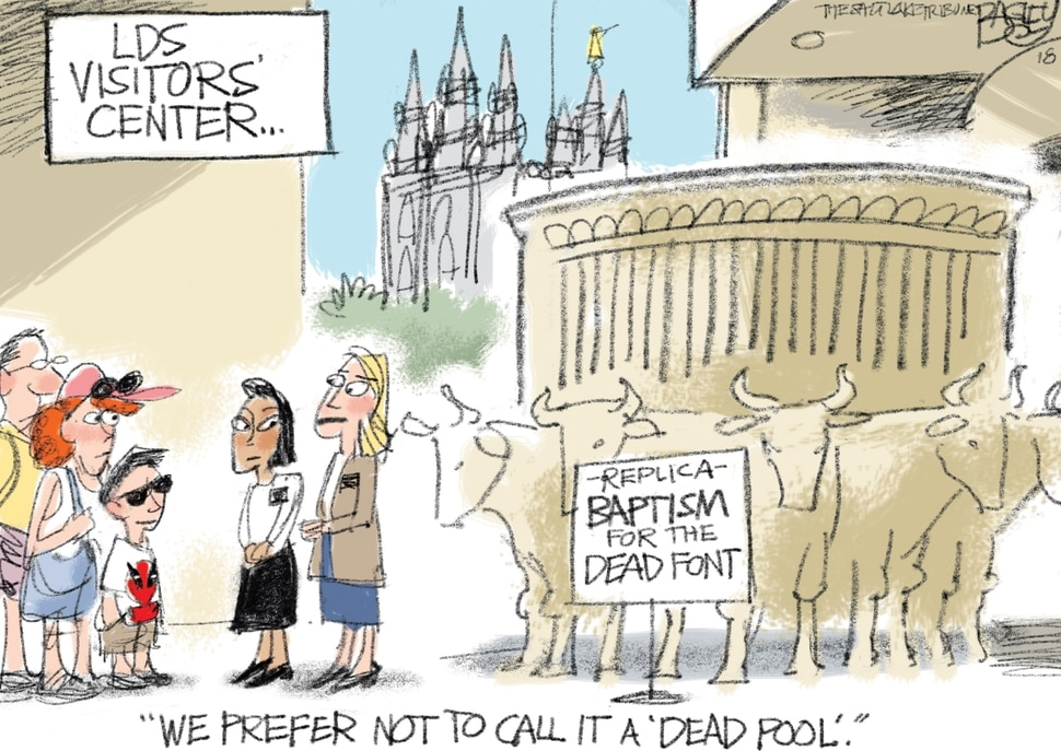 (Pat Bagley | The Salt Lake Tribune) This cartoon by Pat Bagley called LDS Deadpool appears in The Salt Lake Tribune on Thursday, Dec. 13, 2018.