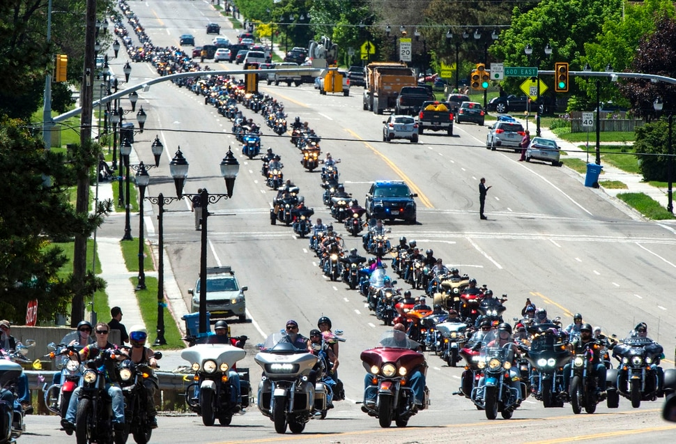 (Rick Egan | The Salt Lake Tribune) motorcycles lead the funeral procession for five-year-old Elizabeth Shelley from Nyman Funeral Home to the Logan Cemetery. Elizabeth was allegedly killed by her uncle in Logan last week. Tuesday, June 4, 2019.