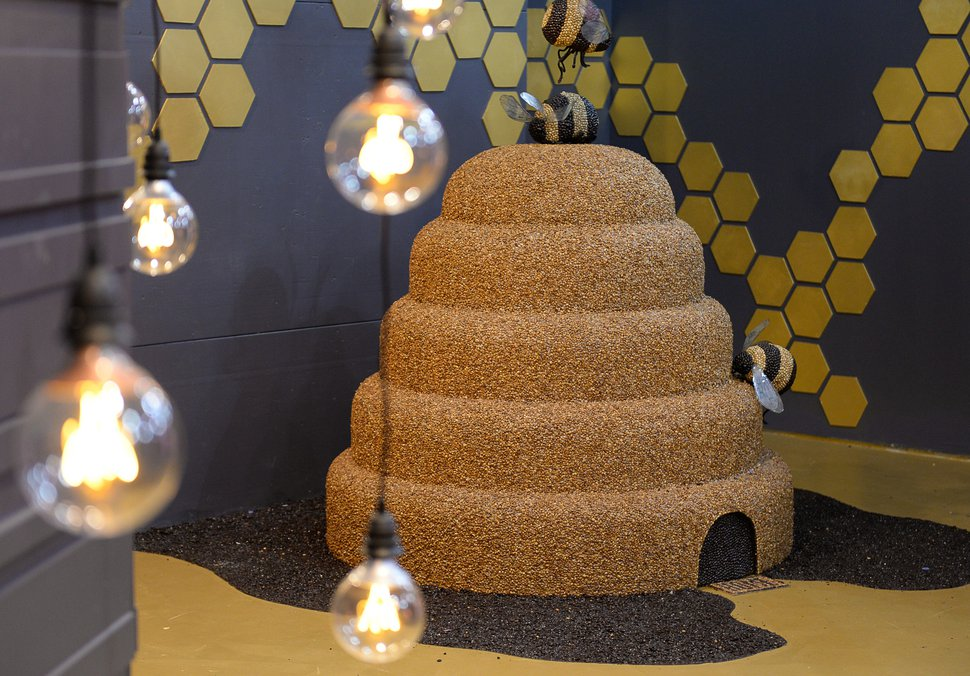 (Francisco Kjolseth | The Salt Lake Tribune) A beehive, made from 1 million coffee beans, is the centerpiece of the coffee room at Hall of Breakfast, a quirky new art exhibit that celebrates the first meal of the day. Each room of the exhibit celebrates a favorite breakfast food from eggs and bacon to cereal and coffee.