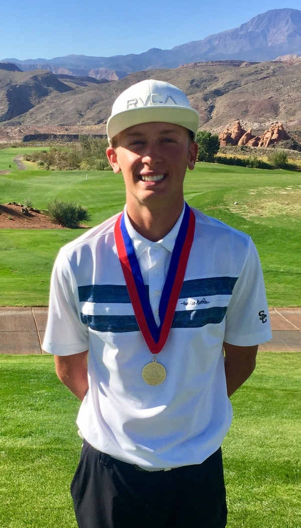(Justin Giles | For The Tribune) Snow Canyon's Triston Gardner won the Class 4A boys' golf state title Thursday.