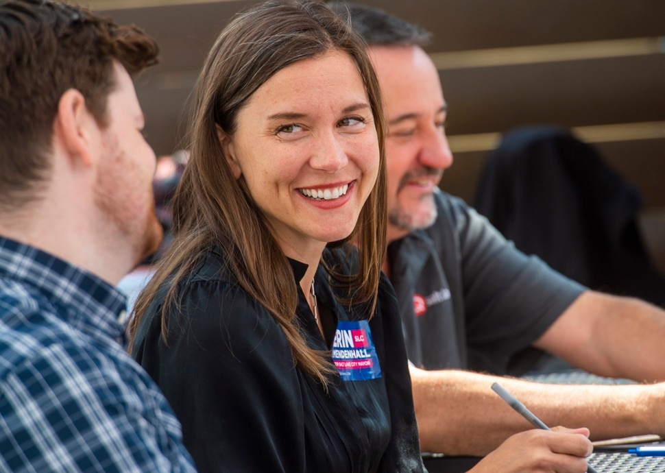 (Rick Egan | The Salt Lake Tribune) Salt Lake City Mayor candidate Erin Mendenhall shares a laugh with Chris Wharton, as they they judge the jam competition along with Michael Aaron, at the Marmalade Jam Fest, Saturday, Sept. 21, 2019.