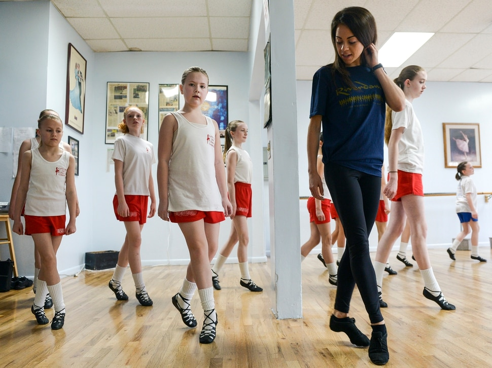 (Leah Hogsten | The Salt Lake Tribune) Celtic Beat Irish dancers from La Rae's Dance Unlimited in Layton learn new steps, Wednesday, April 4, 2018, from Ellen Bonner, right, and Louise O'Sullivan, cast members and dance captains from the Broadway show Riverdance, at the Eccles Theater in Salt Lake City, April 3-8, 2018.
