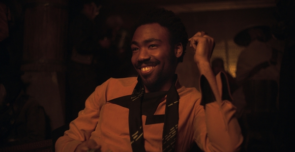 This image released by Disney shows Donald Glover as Lando Calrissian in a scene from