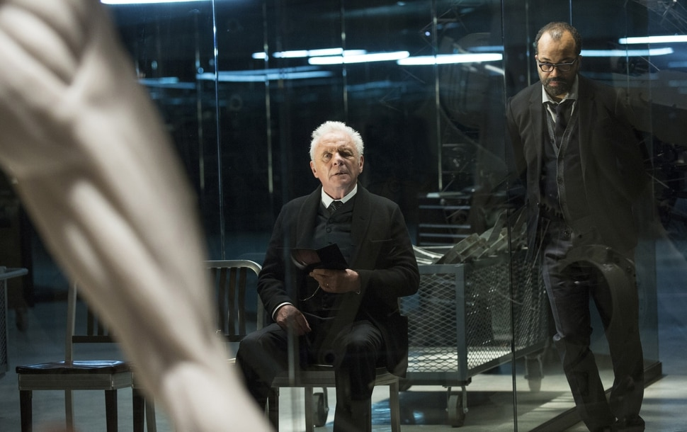John P. Johnson | HBO Anthony Hopkins as Dr. Robert Ford and Jeffrey Wright as Bernard Lowe in ÒWestworld.Ó