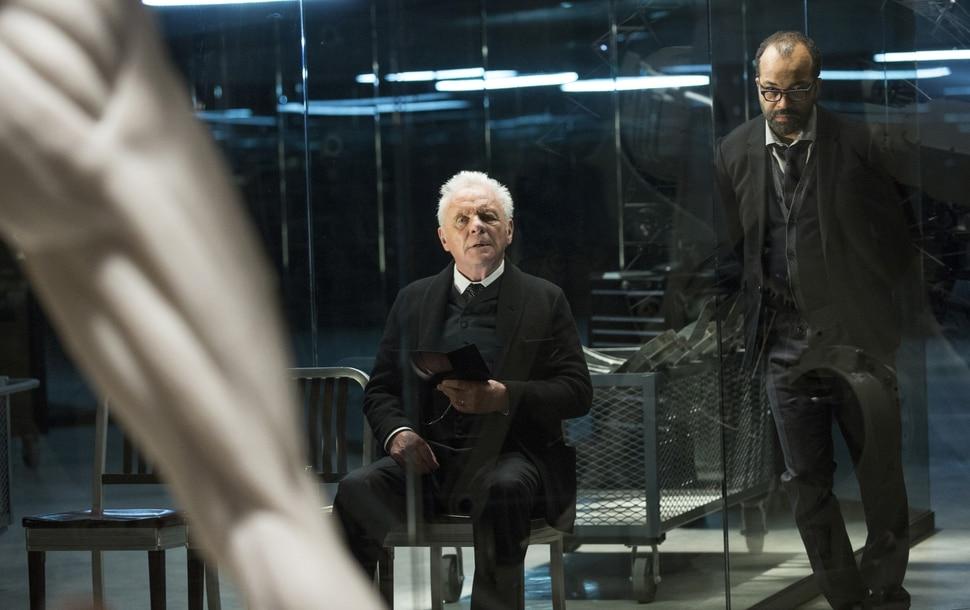 John P. Johnson | HBO Anthony Hopkins as Dr. Robert Ford and Jeffrey Wright as Bernard Lowe in ÒWestworld.Ó