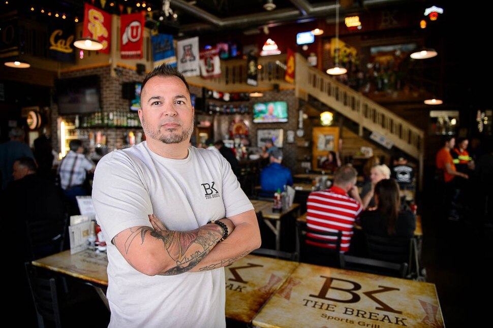 (Trent Nelson | The Salt Lake Tribune) No one wants The Break to become a bar — not its owner Bam Peck, or the South Jordan City Council. But the parties say they have no choice because the Legislature did away with the dining club liquor license. Now The Break, and dozens of other Utah businesses, have to choose between being a bar (no one under 21) or a restaurant (must order food to drink). James Bam Peck at The Break Sports Grill in South Jordan, Friday June 1, 2018.