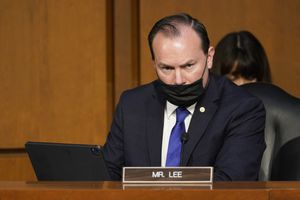 (Susan Walsh | AP) Sen. Mike Lee, R-Utah, attends a Senate Judiciary Committee meeting on Capitol Hill in Washington, Monday, March 1, 2021. The Senate Judiciary Committee voted Monday to advance the nomination of Merrick Garland, President Joe Biden's nominee for attorney general.