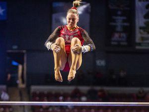 (Rick Egan | The Salt Lake Tribune) Maile O'Keefe competes on the uneven bars for Utah in the Best of Utah gymnastics meet at the Maverik Center on Saturday, Jan. 9, 2021.