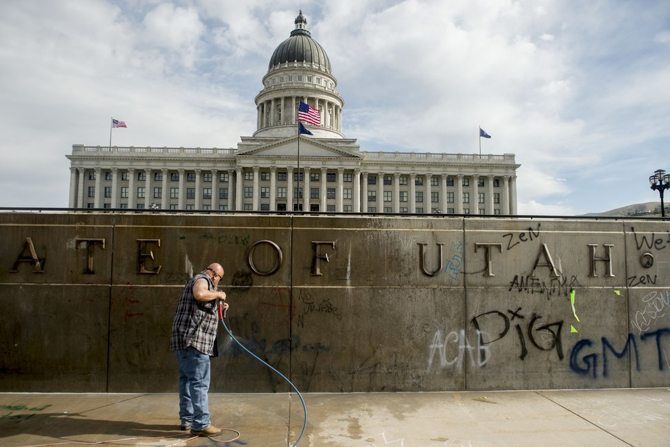 (Jeremy Harmon | The Salt Lake Tribune) Don Gamble cleans up graffiti at the Capitol in Salt Lake City on Sunday, May 31, 2020.