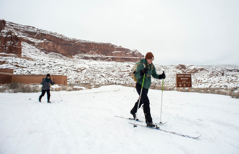(Rick Egan | The Salt Lake Tribune) Lori Underwood from Salt Lake City, and Adele Underwood from Missoula. Montana, use cross country skis explore Arches National Park, as the roads remain closed to vehicles, due to the partial government shutdown. Sunday, Jan. 6, 2019.