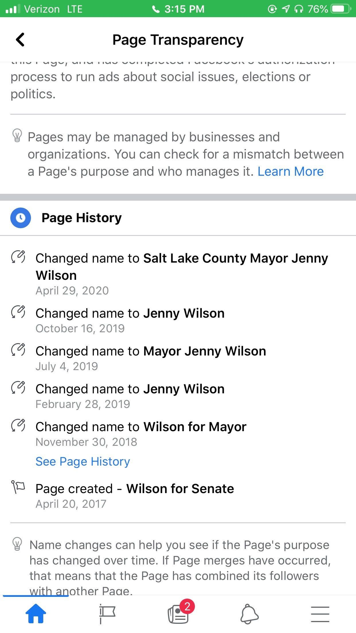 Screen shot from Mayor Jenny Wilson's deleted Facebook page.