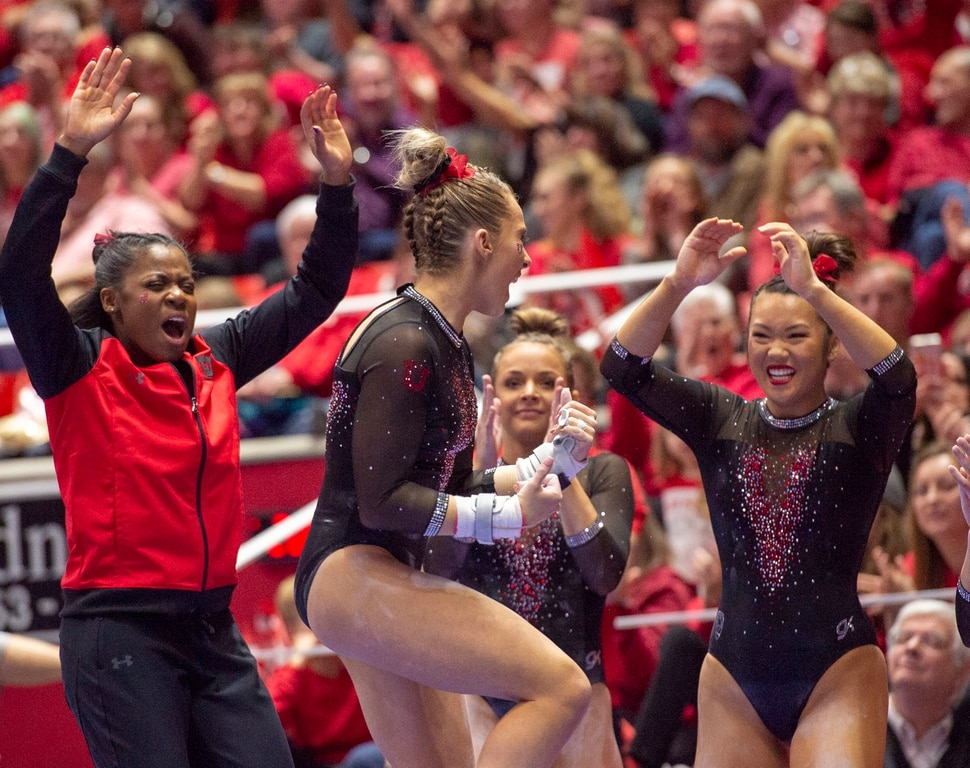 (Rick Egan | The Salt Lake Tribune) THe MaKayla Skinner celebrates her routine on the uneven bars, in PAC-12 gymnastics action between the UCLA Bruins and the University of Utah, at the Jon M. Huntsman Center, Saturday, Feb. 23, 2019.