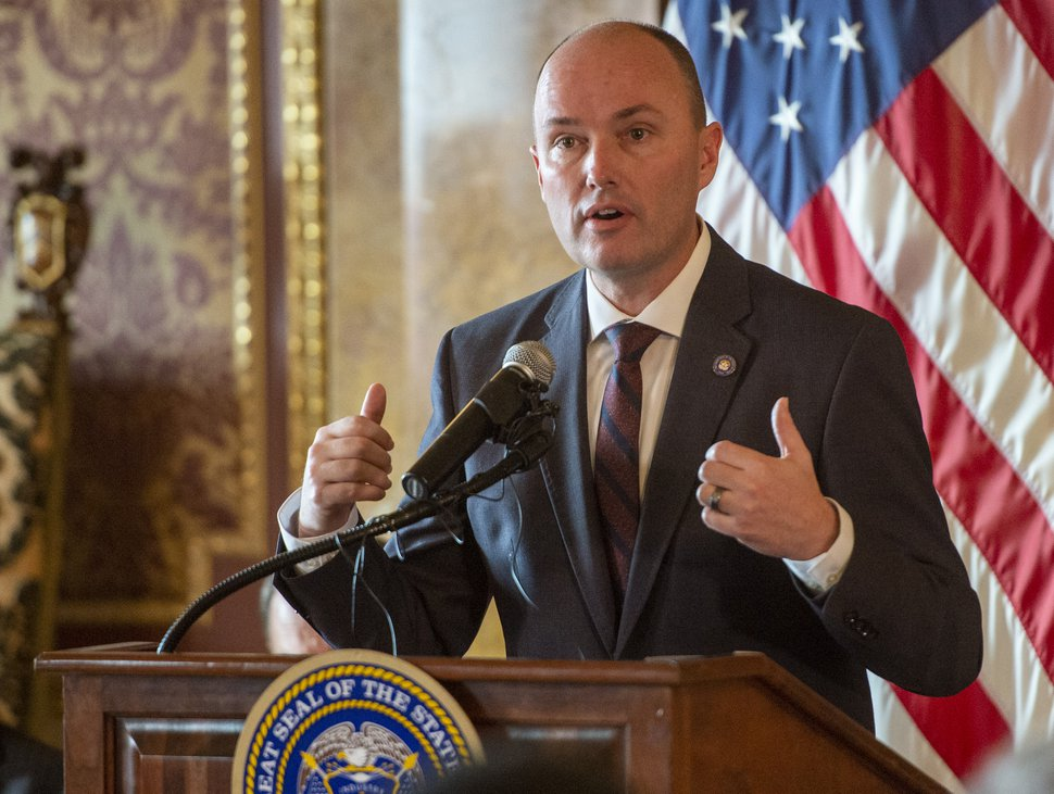 (Rick Egan | The Salt Lake Tribune) Lt. Gov. Spencer Cox says a few words at a news conference at the State Capitol where Gov. Herbert proclaimed the second week in December as Computer Science Education Week in Utah and announced new computer science funding for Utah students, Monday, Dec. 9, 2019.