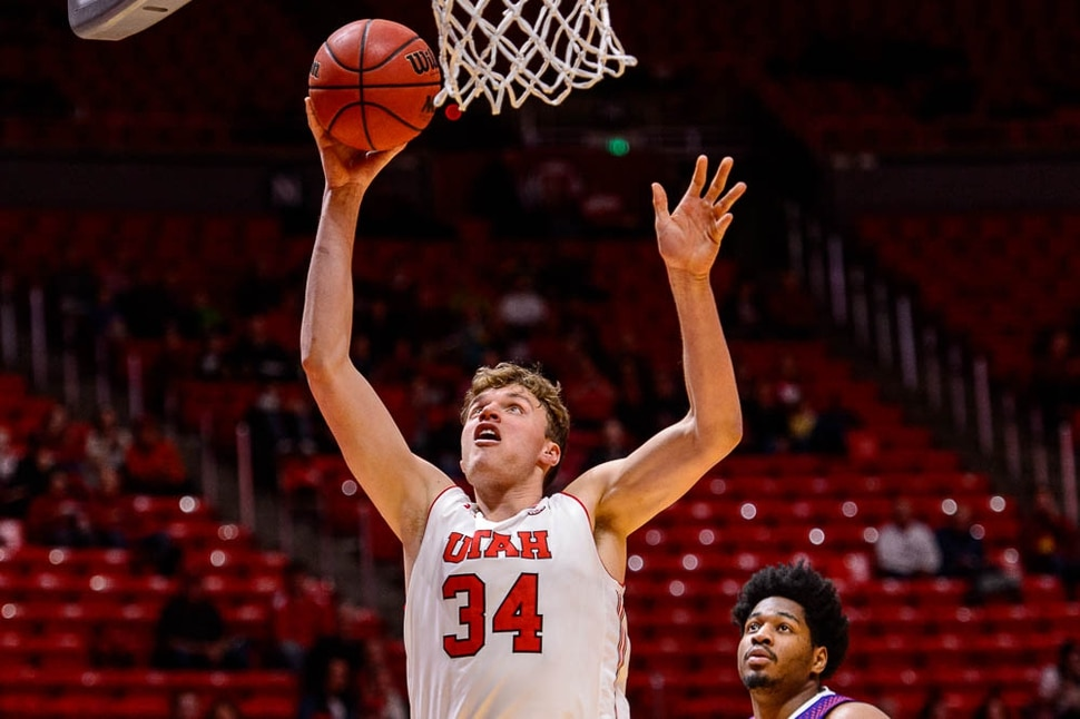 (Trent Nelson | The Salt Lake Tribune) Utah Utes forward Jayce Johnson (34) shoots as the University of Utah hosts Northwestern State, NCAA basketball in Salt Lake City, Wednesday December 20, 2017.