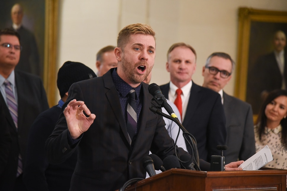 (Francisco Kjolseth | The Salt Lake Tribune) Equality Utah Executive Director Troy Williams talks about legislation being introduced at the Utah Capitol to ban conversion therapy on Thursday, Feb. 21, 2019.