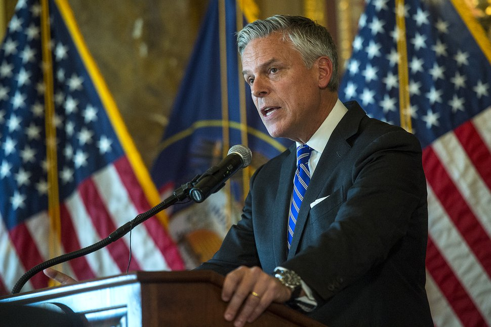 (Chris Detrick | The Salt Lake Tribune) Jon M. Huntsman Jr., U.S. ambassador to Russia, speaks during an Ambassadorial Swearing-In Ceremony at the Utah Capitol on Saturday, Oct. 7, 2017.