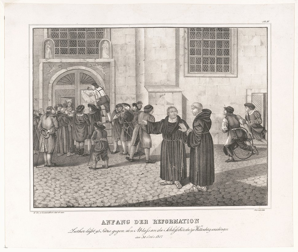 (Courtesy of Library of Congress) A lithograph depicting a small crowd gathered to watch as Martin Luther directs the posting of his 95 theses, protesting the practice of the sale of indulgences, to the door of the castle church in Wittenberg.