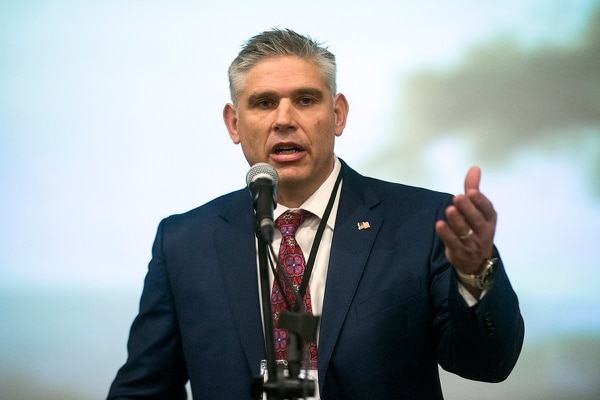 (Chris Detrick | The Salt Lake Tribune) Utah Republican Party chairman Rob Anderson speaks during the State Central Committee meeting at the Park City Library Saturday, November 4, 2017.
