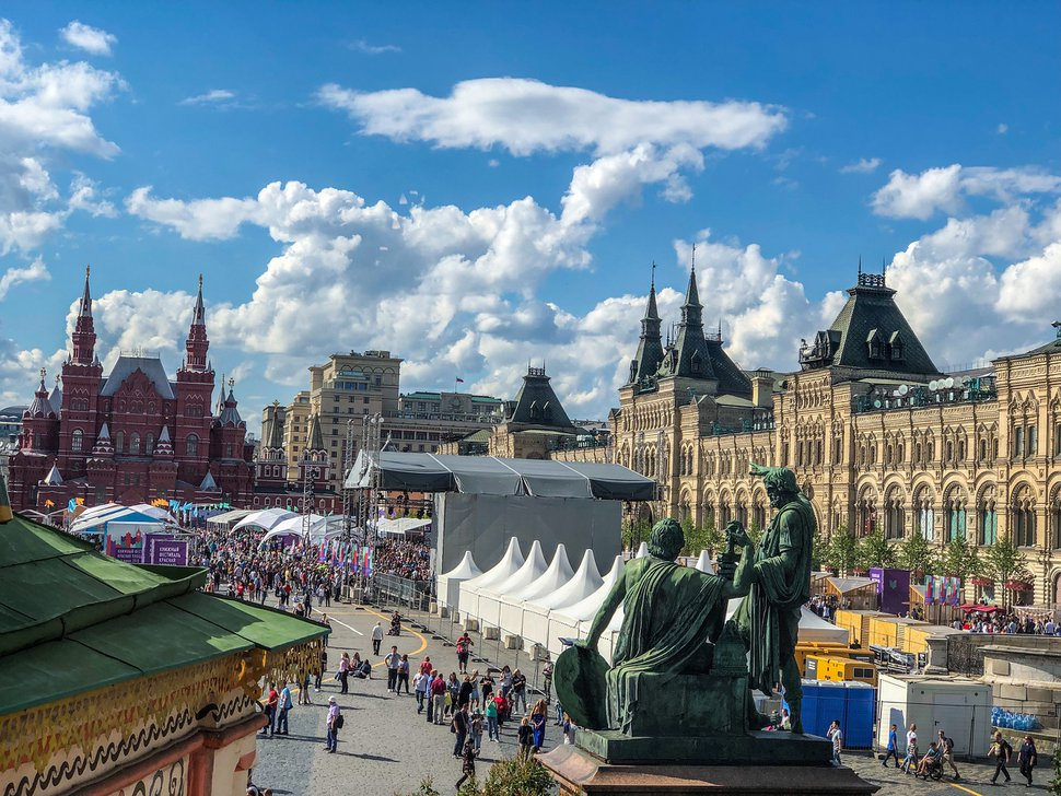 (Michael Stack | Special to The Salt Lake Tribune) Book fair on Red Square in Moscow.