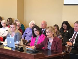 (Nate Carlisle | The Salt Lake Tribune) Hildale Mayor Donia Jessop, right, testifies Monday, Feb. 24, 2020, in the House Law Enforcement and Criminal Justice Committee in favor of SB102 as Sen. Deidre Henderson, center, and Melissa Ellis, left, listen. The bill would make polygamy among consenting adults an infraction.