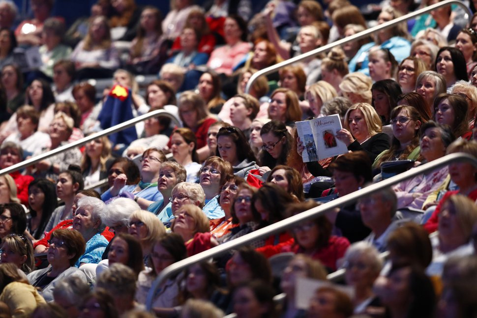 | Courtesy of The Church of Jesus Christ of Latter-day Saints A large crowd gathers inside the Marriott Center on the Brigham Young University campus in Provo, Utah, for the BYU Women's Conference, May 4, 2017.