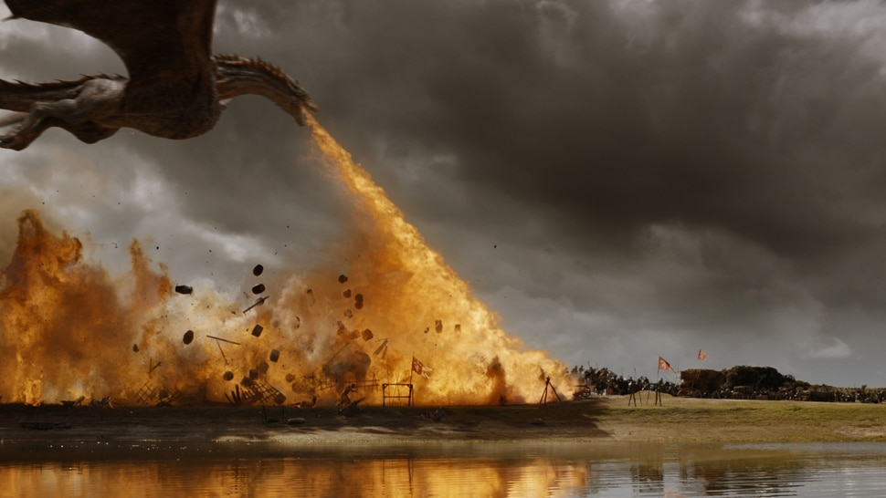 """(Photo courtesy HBO) Drogon devastates the Lannister army in the Season 7 episode of """"Game of Thrones"""" titled """"The Spoils of War."""""""