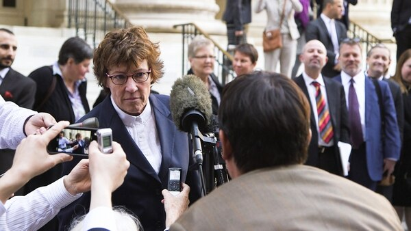(Photo courtesy of Blue Fox Entertainment) Peggy Tomsic, the attorney for the plaintiffs in Kitchen v. Herbert, the legal case that made same-sex marriage legal in Utah, talks to the press outside the 10th U.S. Circuit Court of Appeals in Denver in 2014, in a scene from the documentary