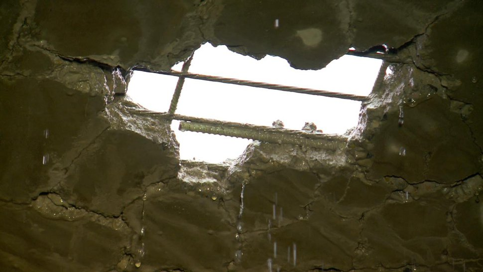 (Photo courtesy of FOX13) A pothole on a bridge on I-15 near 800 South.