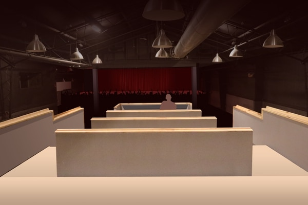 (Courtesy of Pierce McConnell) A rendering of the interior of the new South Salt Lake concert hall, The Commonwealth Room, shows a view of the stage from the raised platforms behind the soundboard area.