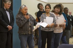 """""""This is a historic moment for us,"""" said Louise Rock, from the Oljato chapter of the Navajo Nation, at a hearing in Bluff, Utah, on Thursday, Nov. 16, 2017. San Juan County residents were presented with proposals of the newly redrawn county commission and school board districts during hearings in Monticello. A federal judge is approving new county election districts in southeastern Utah after finding the boundaries discriminated against American Indians who make up roughly half the population. The new San Juan County voting districts are designed to give native residents an equal voice in local races, but commissioner Phil Lyman said Friday, Dec. 22, 2017, they are unfair and the county plans to appeal.  (Leah Hogsten/The Salt Lake Tribune via AP)"""