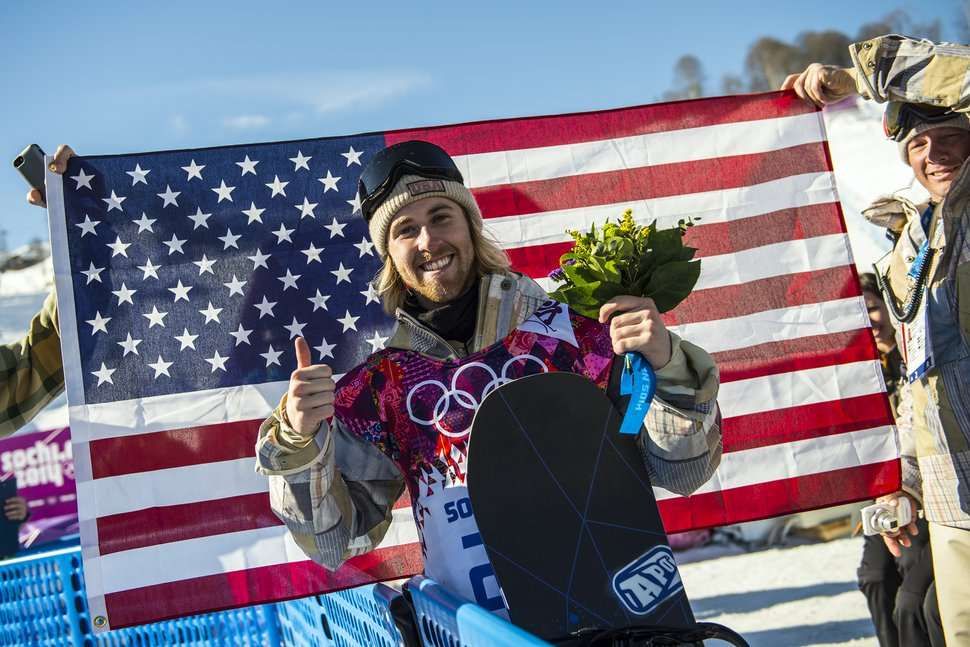 Chris Detrick | The Salt Lake Tribune Sage Kotsenburg, of Park City, poses for a portrait after winning in the Men's Slopestyle Finals at the Rosa Khutor Extreme Park during the 2014 Sochi Olympic Games Saturday February 8, 2014. Kotsenburg won the gold medal with a score of 93.50.