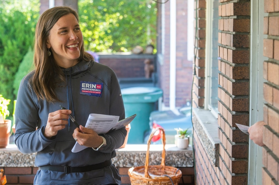 (Rick Egan | The Salt Lake Tribune) Salt Lake City Mayor candidate goes door-to-door talking to constituents in a Sugarhouse neighborhood, Saturday, Sept. 21, 2019.
