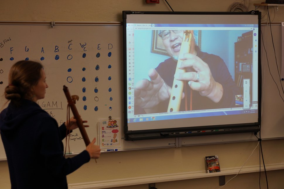 (Zak Podmore | The Salt Lake Tribune) Third grade teacher Sarah Burak and musician Vince Redhouse co-teach a Native flute lesson at the Bluff Elementary School in October 2019.