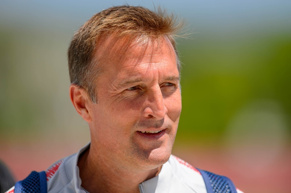 (Trent Nelson | The Salt Lake Tribune) Jason Kreis, former RSL coach, now head coach of the United States U-23 men's national soccer team, in Herriman at the Real Salt Lake Training Academy on Wednesday June 12, 2019.