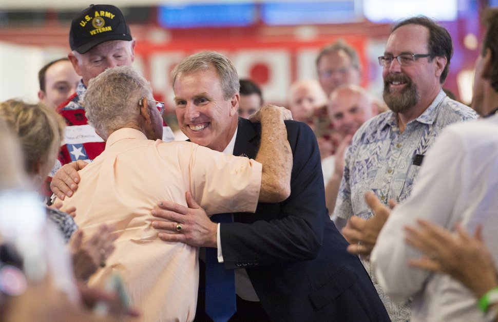 Leah Hogsten | The Salt Lake Tribune Utah's 3rd District primary candidate, former state Rep. Chris Herrod greets attendees at his election rally after a stump speech from Republican Sen. Ted Cruz of Texas, June 29, 2017 at Entrata in Lehi.