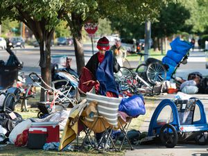 (Francisco Kjolseth     The Salt Lake Tribune) People are forced to pack up their camp outside of Liberty-Wells Recreation Center in downtown Salt Lake City on Thursday, Sept. 10, 2020, after being notified by the health department the day before.
