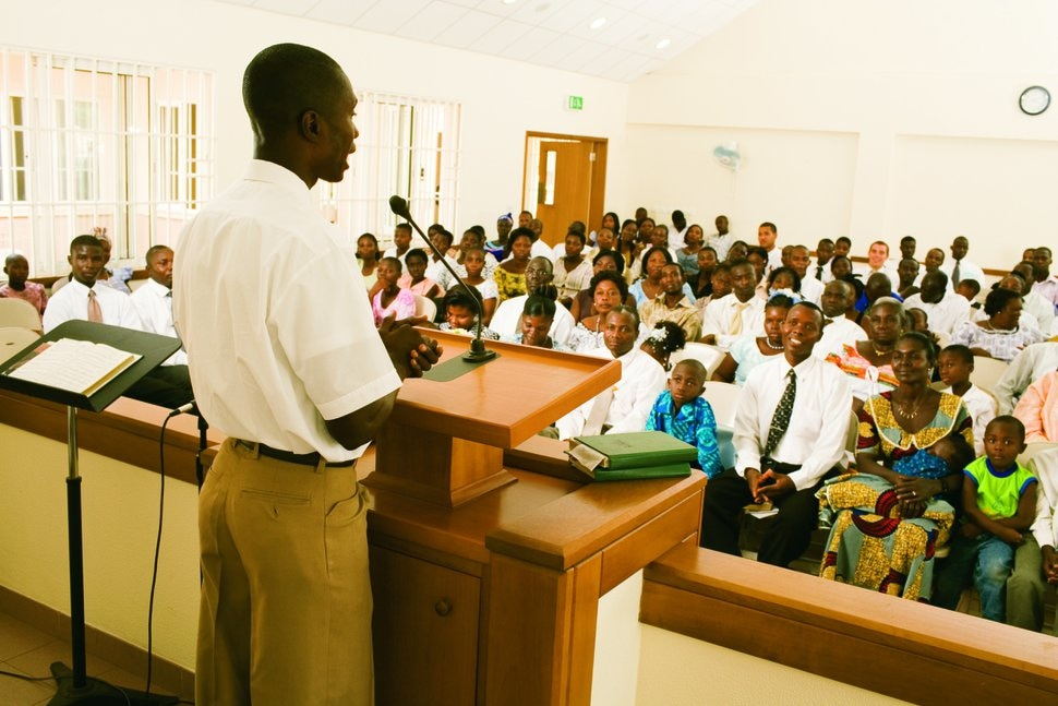 (Courtesy photo | The Church of Jesus Christ of Latter-day Saints) A sacrament meeting in Africa.