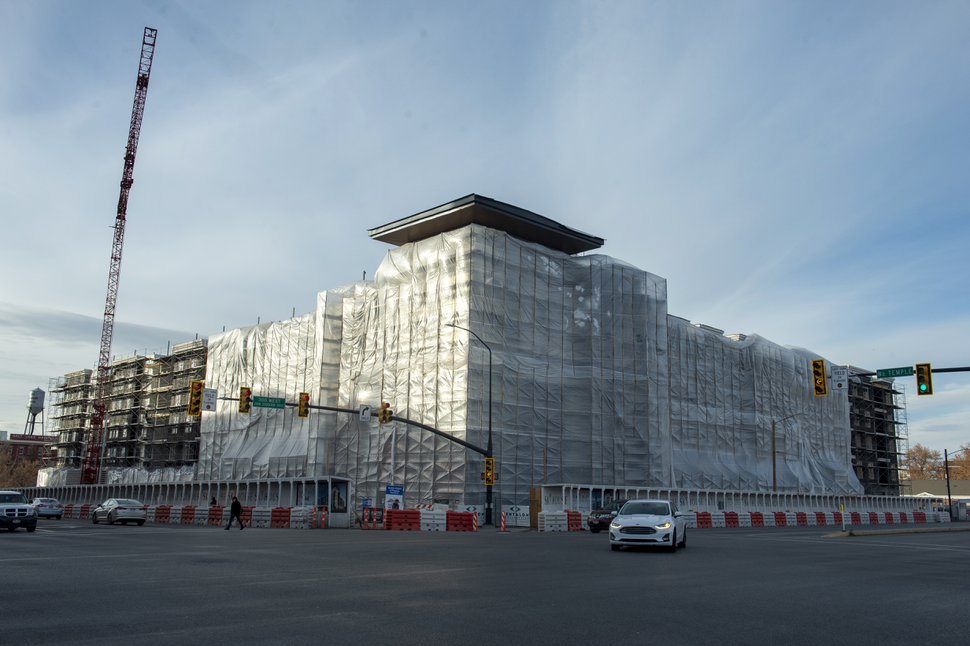 (Rick Egan | The Salt Lake Tribune) The Skyhouse Apartments, under construction on West Temple in Salt Lake City, Tuesday, Dec. 18, 2018.