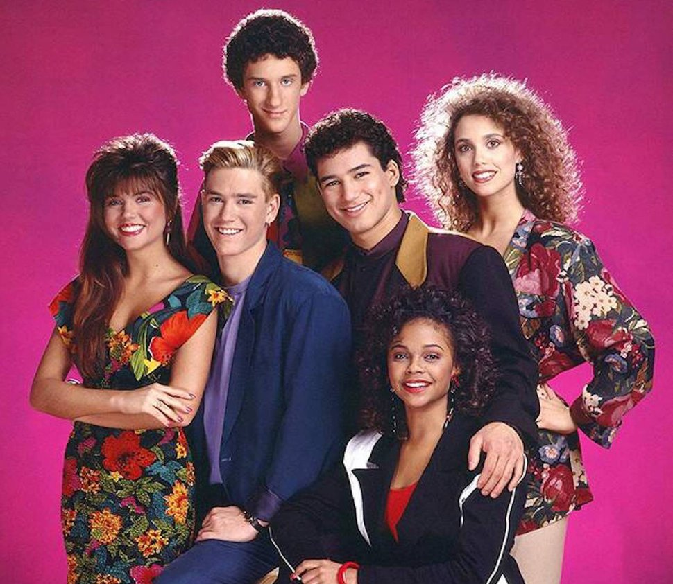 (Photo courtesy og NBC) Tiffani Thiessen, Mark-Paul Gosselaar, Dustin Diamond, Mario Lopez, Lark Voorhies and Elizabeth Berkley starred in