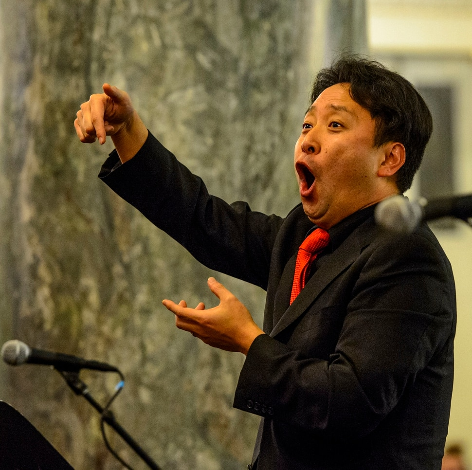 (Steve Griffin | The Salt Lake Tribune) Masa Fukuda directs the One Voice Children's Choir during a concert at the Joseph Smith Memorial Building in Salt Lake City Friday December 8, 2017.