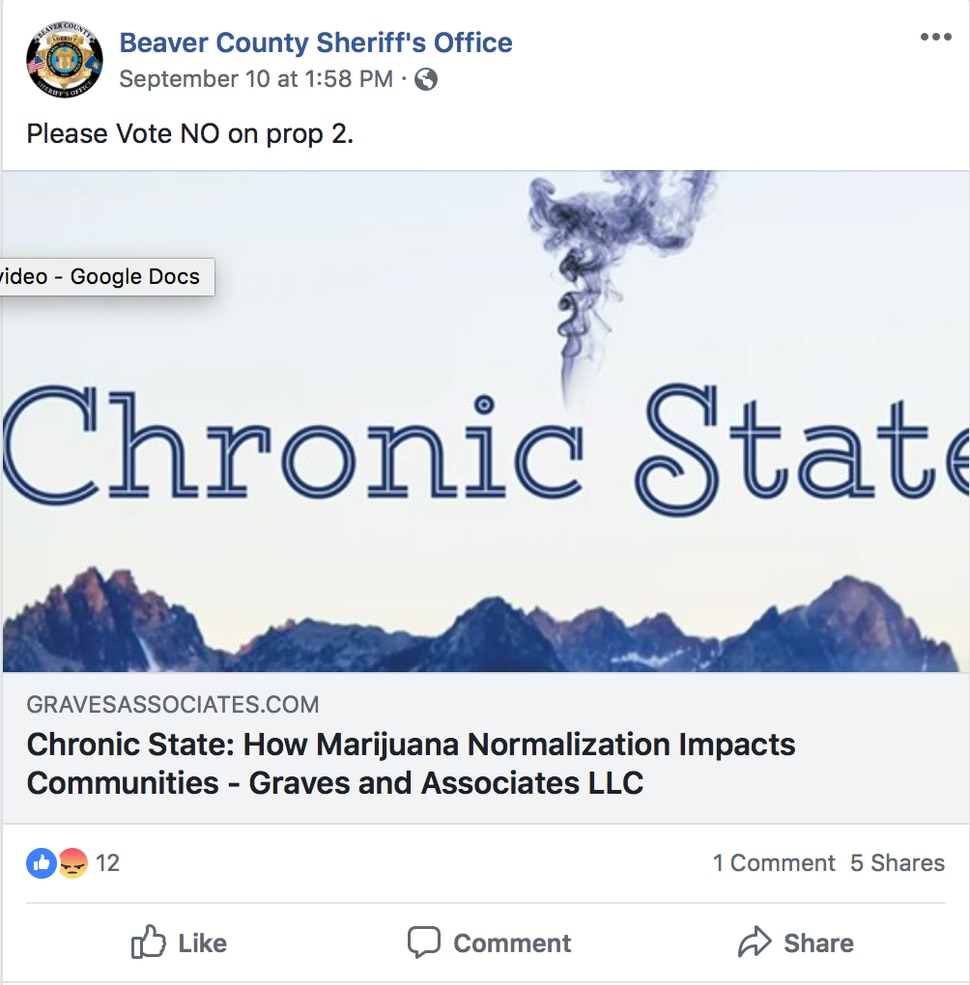 (Facebook screenshot) In a now deleted Facebook post from the Beaver County Sheriff's Office, the agency calls on residents to