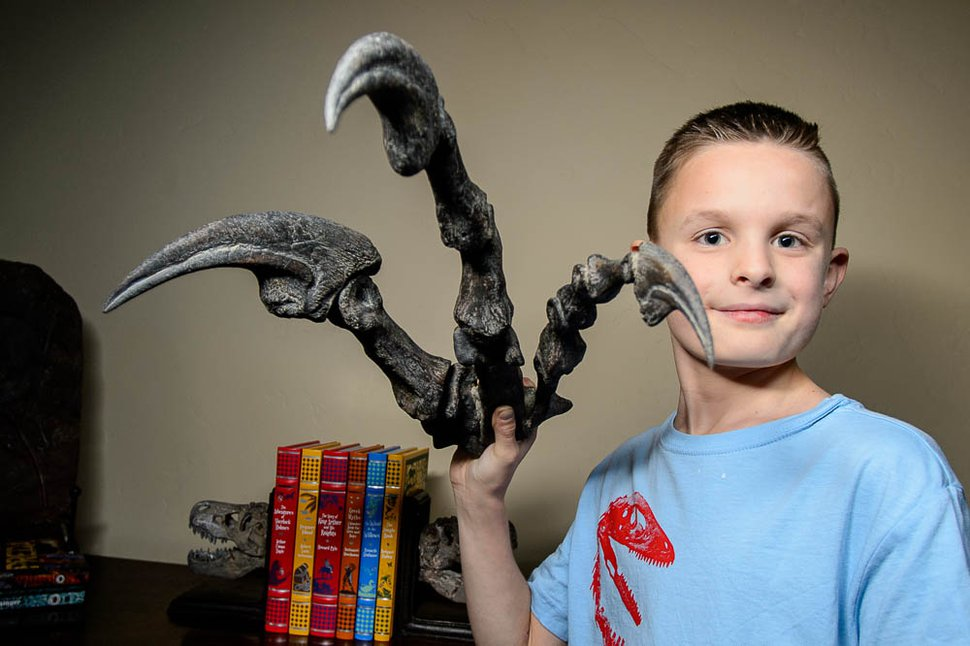 (Trent Nelson | The Salt Lake Tribune) 10-year-old dinosaur fanatic Kenyon Roberts holds a model of an Allosaurus claw in his dinosaur-themed room, Thursday December 14, 2017 in Draper. Roberts persuaded Sen. Curt Bramble to draft legislation to change Utah state fossil from Allosaurus to Utahraptor.