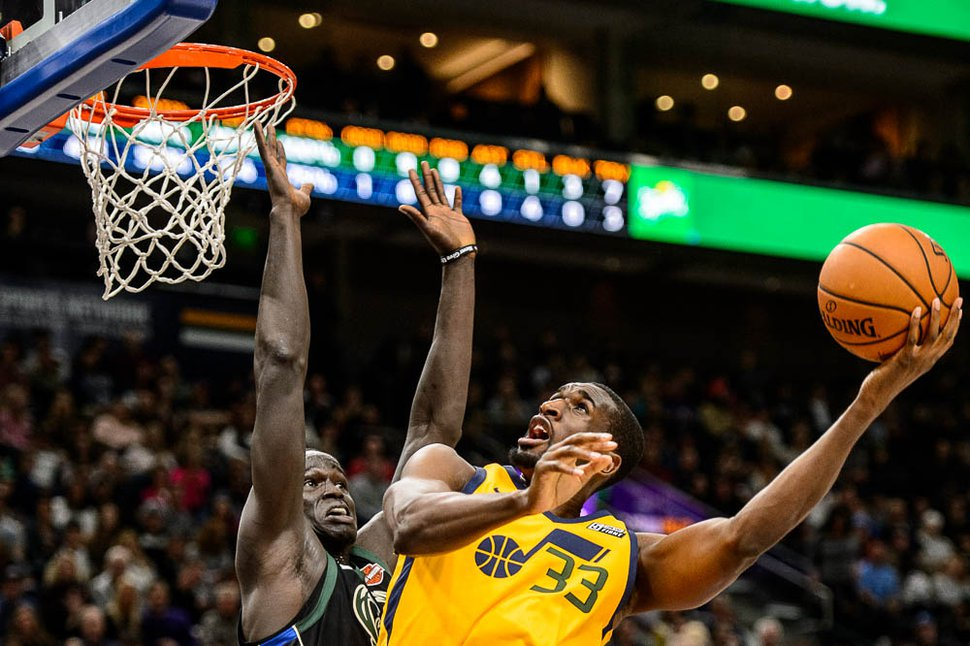 (Trent Nelson | The Salt Lake Tribune) Utah Jazz center Ekpe Udoh (33) shoots the ball as the Utah Jazz host the Milwaukee Bucks, NBA basketball in Salt Lake City Saturday, Nov. 25, 2017.