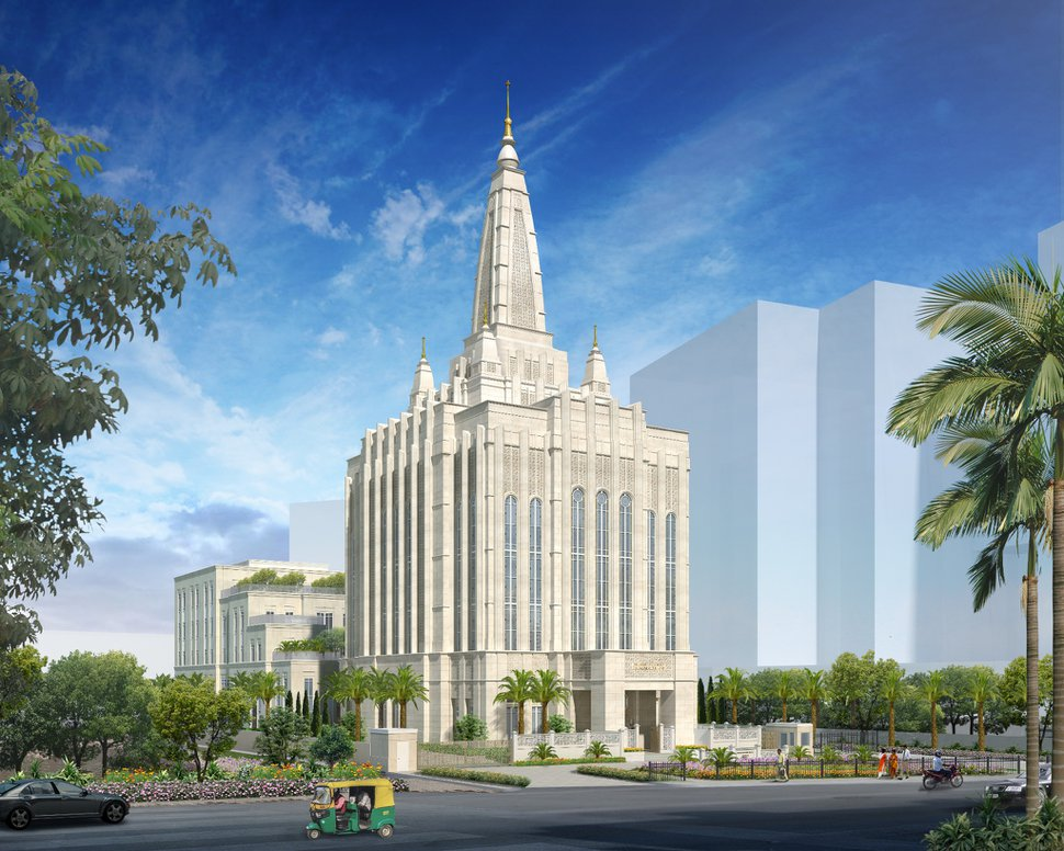 (Photo courtesy of The Church of Jesus Christ of Latter-day Saints) Rendering of the Bengaluru Temple in India.